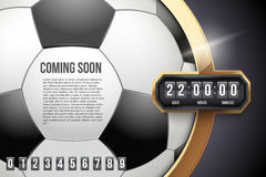 Football Coming Soon and countdown timer. Stock Images