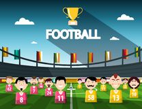 Football Competition Symbol with Cup and Team. On Stadium. Vector stock illustration