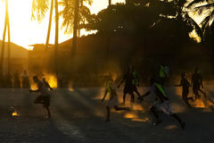 Football competitions in the open air in Africa Royalty Free Stock Images