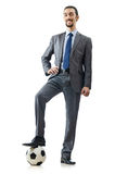 Football concept - businessman on white Stock Image