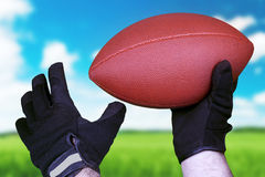 Football concept with a leather ball over grass Royalty Free Stock Photography