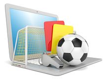 Football concept. Penalty (red and yellow) card, metal whistle, soccer Royalty Free Stock Photos