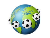 Football concept. Soccer balls around the globe Stock Images