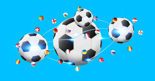 Football connected to each other with european flags. Illustration of football connected to each other with european flags Stock Photography