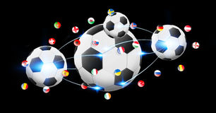 Football connected to each other with european flags Royalty Free Stock Photography