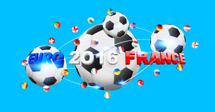 Football connected to each other with european flags. Illustration of football connected to each other with european flags Stock Images
