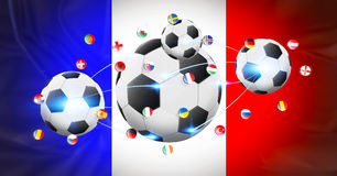 Football connected to each other with european flags Stock Images
