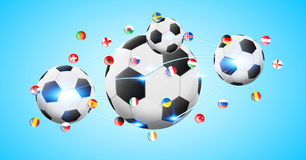 Football connected to each other with european flags. Illustration of football connected to each other with european flags Royalty Free Stock Photos