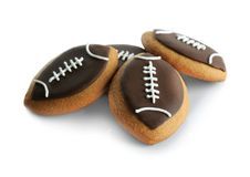 Football cookies on background. Football cookies on white background royalty free stock image