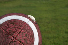 Football in Corner of Grass Background Royalty Free Stock Images
