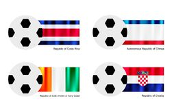 Football with Costa Rica, Crimea, Ivory Coast and  Stock Photo