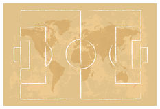 Football court on map of the world background Royalty Free Stock Photos
