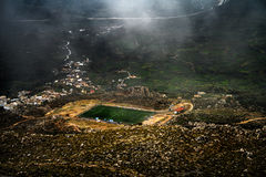 Football court on a mountain plateau Stock Image