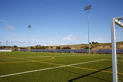 Football court with solar energy supply. New technology energy supply for the modern playground Royalty Free Stock Images