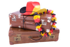 Football Cowboy Hat over two old suitcases Stock Photography