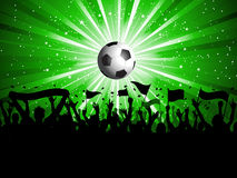 Football crowd. Football background with crowd holding banners and flags Stock Image
