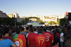 Football Crowd, Lisbon, Portugal - UEFA European Championship Final 2016 Royalty Free Stock Photography