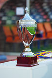 Football cup. Cup for winning team - Romanian cup finals between CFR Cluj and Unirea Urziceni (2 - 1), 10 may 2008 Royalty Free Stock Photo