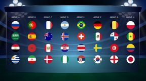 Football cup, all Groups. Vector illustration Royalty Free Stock Image