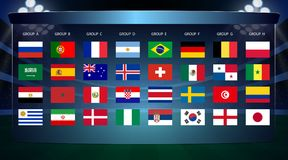 Football cup, all Groups. Vector illustration Stock Photos