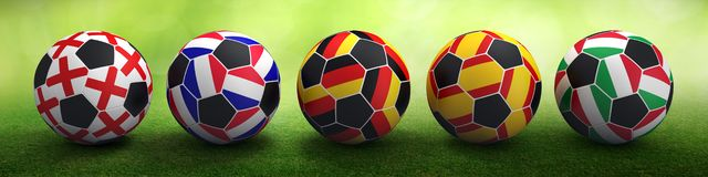 Football cup european flags. Mixed media stock image