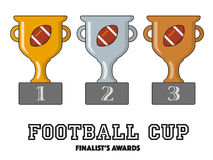 Football Cup Finalists Awards in Gold, Silver and Bronze. American Football Cup Finalists Awards in Gold, Silver and Bronze Vector Symbols Royalty Free Stock Photo