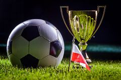 Football cup and Polish flag. With football ball on grass by night stock images