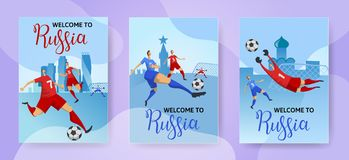 Football Cup. Russia. Football players on Russian cityscape background. Set of vertical posters with lettering. Flat. Football Cup. Russia. Football players on Royalty Free Stock Image