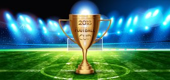 Football cup in the soccer arena on a background of grass field. Night background football field stadium and fans Signs 2018 soccer championship cup.Vector vector illustration
