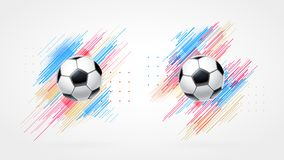 Football cup 2018, soccer championship illustration set. Dynamic colorful lines isolated on white background. Realistic. 3d ball. Element for design cards Royalty Free Stock Images
