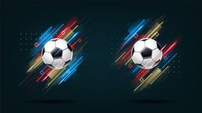 Football cup 2018, soccer championship illustration set. Dynamic neon glowing lines isolated on black background. Realistic 3d ball. Holographic element for vector illustration