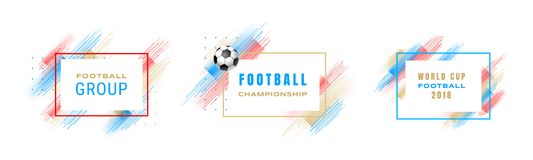 Football cup 2018, soccer championship illustration. Vector frames with linear brushes isolated on white background. Glitch effect. Holographic element for Royalty Free Stock Photo