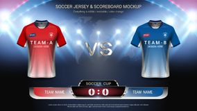 Football cup template for sport event, Soccer jersey mock-up and scoreboard match vs strategy broadcast graphic template. For your presentation of the match stock illustration