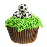 Football Cupcake. Birthday football cupcake isolated on white background Stock Photos