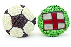 Football cupcake and england flag Royalty Free Stock Photos