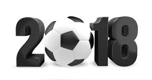 2018 football. 2018 3d render ball football soccer. Design illustration Stock Image