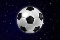 Football on dark Galaxy. Royalty Free Stock Images