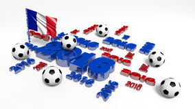 Football 2016 design with French Flag and Balls Royalty Free Stock Photos