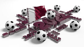 Football 2022 design with Qatar Flag and Balls Stock Photo