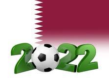 Football 2022 design with Qatar Flag. Green Football 2022 design with Qatar Flag Stock Photography