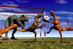 Football dinosaur. Scene dinosaur playing in football Stock Photo