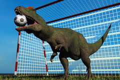 Football dinosaur. Scene dinosaur playing in football Stock Photos