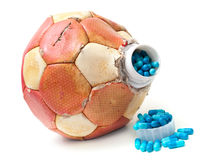Football doping. Conceptual view about doping in Soccer on a white background Stock Photography