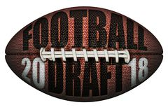 Football with 2018 Football Draft Embossed Onto It Royalty Free Stock Photos