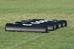 Football drill pads on football field Royalty Free Stock Photography