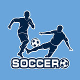 Football duel silhouettes of players Stock Photography