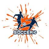Football duel among splashes Stock Photo