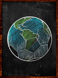 Football Earth Sketch blackboard. Soccer Edition Royalty Free Stock Photo