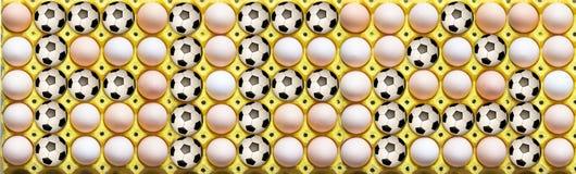 Football in the egg tray stock photos