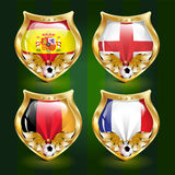 Football emblem. Vector football emblems with the flags of the leading countries stock illustration